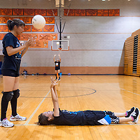 081213       Brian Leddy<br /> Aiesha Curley and Shania Robinson practice at Gallup High School Monday.