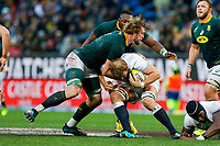 CAPE TOWN, SOUTH AFRICA - JUNE 23: England player Joe Launchbury goes to the ground with Springbok player RG Snyman at Newlands Stadium on June 23, 2018 in Cape Town, South Africa. (Photo by MB Media/Getty Images)