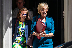 © Licensed to London News Pictures. 26/06/2018. London, UK. Leader of the House of Commons Andrea Leadsom (R) and Leader of the House of Lords Baroness Evans (L) leave 10 Downing Street after the Cabinet meeting. Photo credit: Rob Pinney/LNP