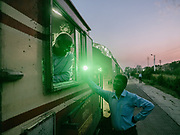 The motocar or locomotive on the Palace on Wheels, a vintage luxury train crossing Rajahstan province.