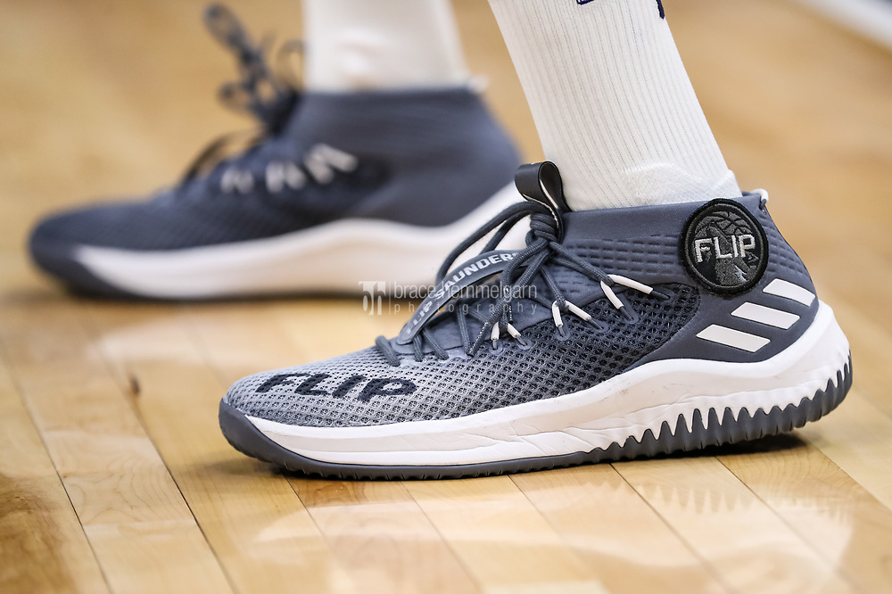 Feb 15, 2018; Minneapolis, MN, USA; The shoes of Minnesota Timberwolves guard Jamal Crawford (11) honoring former coach Flip Saunders during the fourth quarter against the Los Angeles Lakers at Target Center. Mandatory Credit: Brace Hemmelgarn-USA TODAY Sports