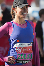© Licensed to London News Pictures. 21/04/2013. London, England. Picture: Model Sophie Anderton. Celebrity Runners at a photocall before the start of the Virgin London Marathon 2013 race. Many wore black ribbons to pay their respect for those who died or were injured in the Boston Marathon. Photo credit: Bettina Strenske/LNP