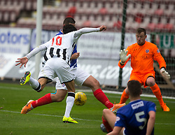 Dunfermline's Faissal El Bahktaoui misses a chance. Half time : Dunfermline 0 v 0 Cowdenbeath, Scottish League Cup game played today at East End Park.