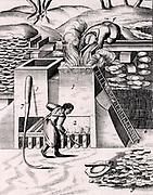 Roasting gold ore in order to recover the precious metal. From 1683 English edition of Lazarus Ercker 'Beschreibung allerfurnemisten mineralischen Ertzt- und Berckwercksarten' originally published in Prague in 1574. Copperplate engraving.