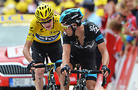 Sykkel<br /> 18.07.2013<br /> Tour de France<br /> Foto: PhotoNews/Digitalsport<br /> NORWAY ONLY<br /> <br /> ALPE D'HUEZ, FRANCE - JULY 18: FROOME Christopher (GBR)   of SKY PROCYCLING - PORTE Richie (AUS)   of SKY PROCYCLING  during the eighteenth stage of the 2013 Tour de France from Gap to Alpe d' Huez on July 18, 2013 in Alpe D'Huez, France