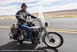 Rowdy Schenck of New Mexico riding his 1915 Harley-Davidson during the Motorcycle Cannonball Race of the Century. Stage-12 ride from Page, AZ to Williams, AZ. USA. Thursday September 22, 2016. Photography ©2016 Michael Lichter.