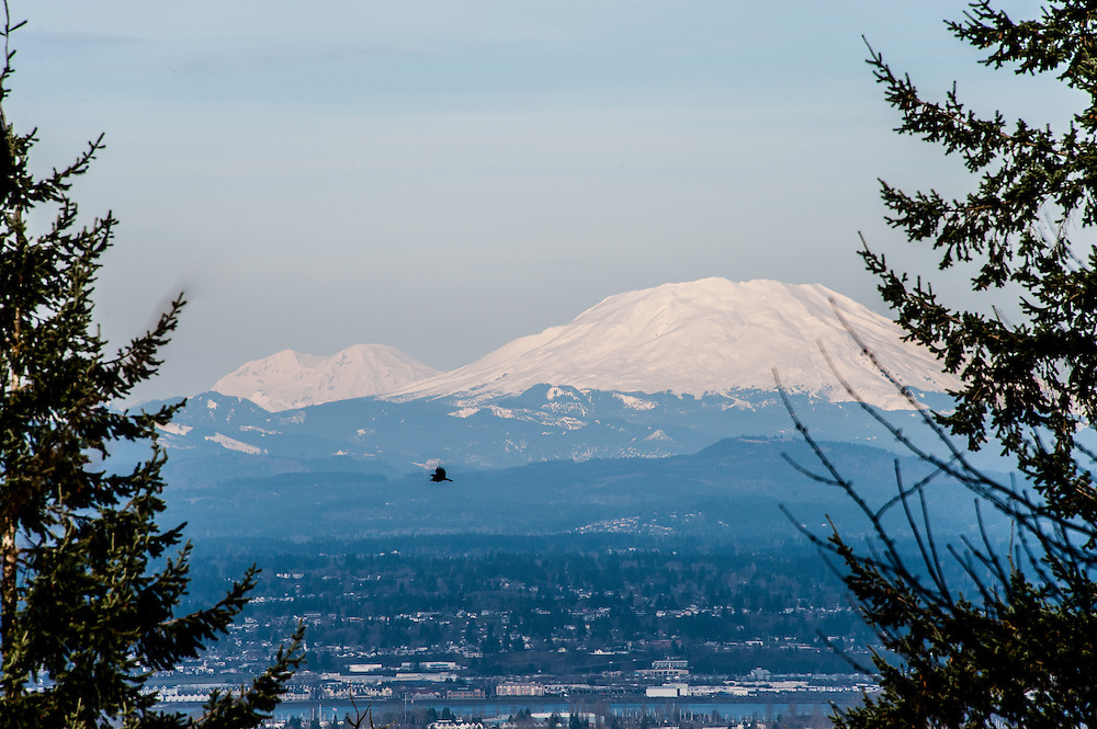 View of Mt. St. Helens and Mt. Rainier from Pittock Mansion