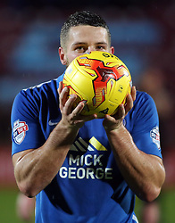 Conor Washington of Peterborough United celebrates with the match ball after a scoring a hat-trick - Mandatory byline: Joe Dent/JMP - 07966 386802 - 28/11/2015 - FOOTBALL - Glanford Park - Scunthorpe, England - Scunthorpe United v Peterborough United - Sky Bet League One