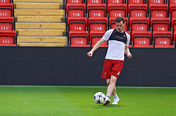 LIVERPOOL, ENGLAND - Monday, May 21, 2018: Liverpool's Andy Robertson during a training session at Anfield ahead of the UEFA Champions League Final match between Real Madrid CF and Liverpool FC. (Pic by Paul Greenwood/Propaganda)