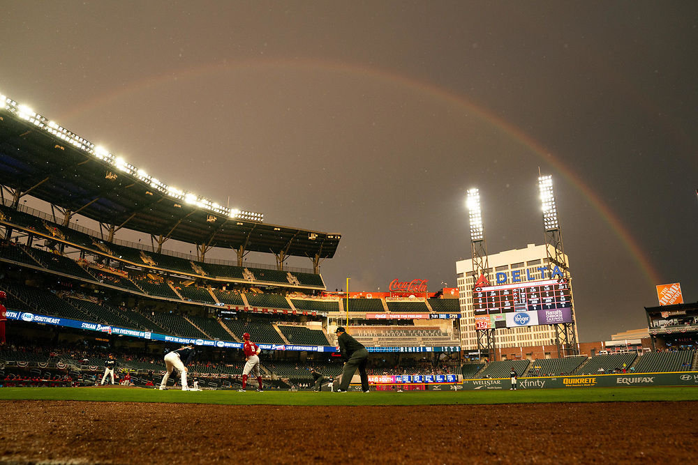 A rainbow during Braves v. Reds exhibition game on Monday, March 25, 2018 at SunTrust Park. The Braves won 8-5. Photo by Kevin D. Liles/Atlanta Braves