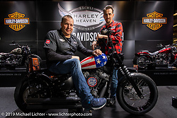 70's Helmets owner Fabrizio Caoduro with Rainer Baechli, the owner of Harley Heaven Harley-Davidson, on a 70's painted custom n the Harley Heaven booth at the Swiss-Moto Customizing and Tuning Show. Zurich, Switzerland. Sunday, February 24, 2019. Photography ©2019 Michael Lichter.