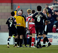 Photo: Jed Wee.<br />Doncaster Rovers v Swansea City. Coca Cola League 1.<br />17/12/2005.<br />Doncaster's Kevin Austin is shown a straight red card by referee Dermott Gallagher (2nd, L) after only ten minutes.