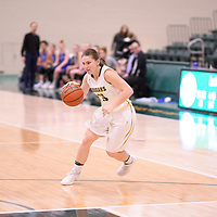 5th year guard Caitlin Zacharias (15) of the Regina Cougars during the Women's Basketball home game on November 24 at Centre for Kinesiology, Health and Sport. Credit: Arthur Ward/Arthur Images