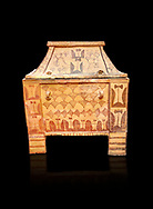 Minoan  pottery gabled larnax coffin chest with double axe and papyrus decorations,  Anthanatoi 1370-1250 BC, Heraklion Archaeological  Museum, black background. .<br /> <br /> If you prefer to buy from our ALAMY PHOTO LIBRARY  Collection visit : https://www.alamy.com/portfolio/paul-williams-funkystock/minoan-art-artefacts.html . Type -   Heraklion   - into the LOWER SEARCH WITHIN GALLERY box. Refine search by adding background colour, place, museum etc<br /> <br /> Visit our MINOAN ART PHOTO COLLECTIONS for more photos to download  as wall art prints https://funkystock.photoshelter.com/gallery-collection/Ancient-Minoans-Art-Artefacts-Antiquities-Historic-Places-Pictures-Images-of/C0000ricT2SU_M9w