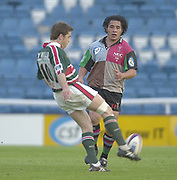 Twickenham, Surrey, England,  UK., 14/05/2003, QUIN'S TANI FUGA,  RUNS IN, AS CRAIG MCMULLEN, CLEARS THE BALL, during, the Zurich Premiership Rugby match, NEC Harlequins vs Leicester Tigers, played at the Stoop Memorial Ground, [Mandatory Credit: Peter Spurrier/Intersport Images]