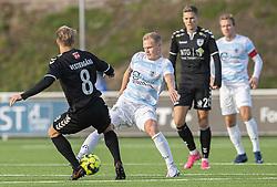 Mike Vestergård (Kolding IF) tackles af Philip Rejnhold (FC Helsingør) under kampen i 1. Division mellem FC Helsingør og Kolding IF den 24. oktober 2020 på Helsingør Stadion (Foto: Claus Birch).