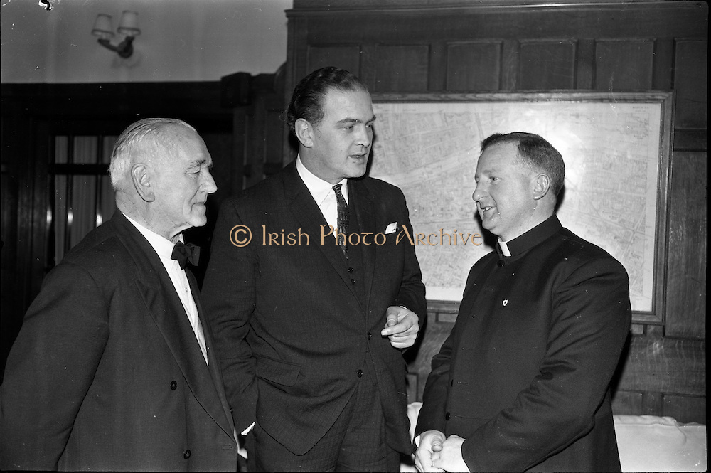 16/01/1963<br /> 01/16/1963<br /> 16 January 1963<br /> Limerickmens Association Annual Dinner at the Clarence Hotel, Dublin. Chatting before the dinner were (l-r): Mr T.L. O'Halloran, Chairman of the Association; Mr Donagh O'Malley, T.D., Parliamentary Secretary to Minister for Finance and Rev. Fr. E. Neville, President of the Association.