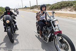 Iron Lillies' Leticia Cline (L) and Kissa Von Addams Riding Highway A1A along the coast during Daytona Bike Week 75th Anniversary event. FL, USA. Thursday March 3, 2016.  Photography ©2016 Michael Lichter.