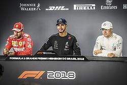November 10, 2018 - Sao Paulo, Brazil - SEBASTIAN VETTEL, LEWIS HAMILTON and VALTTERI BOTTAS during FIA Formula One World Championship 2018. Hamilton took pole in qualifying. (Credit Image: © Hoch Zwei via ZUMA Wire)