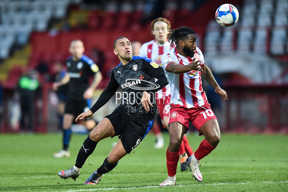 James Vaughan of Tranmere Rovers battles for possession with Stevenage forward Tyrone Marsh(10) during the EFL Sky Bet League 2 match between Stevenage and Tranmere Rovers at the Lamex Stadium, Stevenage, England on 16 January 2021.