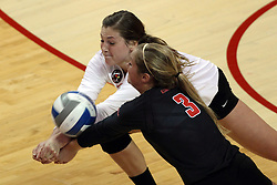 23 October 2015:  Ashley Rosch(15) and Courtney Pence(3) share a dig during an NCAA women's volleyball match between the Wichita State Shockers and the Illinois State Redbirds at Redbird Arena in Normal IL (Photo by Alan Look)