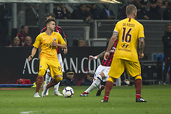 September 1, 2018 - Milan, Italy - Serie A football, AC Milan versus AS Roma; Federico Peluso of US Sassuolo celebrate the first goal. (Credit Image: © Gaetano Piazzolla/Pacific Press via ZUMA Wire)