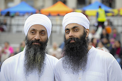 April 29, 2017 - London, UK - London, UK. Performers ( L to R) Nandh Singh and Harminder Singh of Gurmat Sangeet Academy form part of the entertainment at the Sikh festival of Vaisakhi taking place in Trafalgar Square and hosted by the Mayor of London.  The festival celebrates the beginning of Sikhism, a collective faith which is practiced by more than 20 million people worldwide. (Credit Image: © Stephen Chung/London News Pictures via ZUMA Wire)