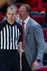 NORMAL, IL - January 19: Dan Muller is a bit steamed with referee Randy Heimerman over an offensive player control foul during a college basketball game between the ISU Redbirds and the Loyola University Chicago Ramblers on January 19 2020 at Redbird Arena in Normal, IL. (Photo by Alan Look)