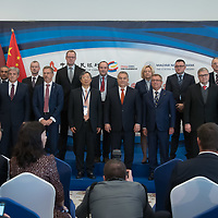 Family photo of the delegation leaders with together Hungarian Prime Minister Viktor Orban during the opening ceremony of the 16+1 China-CEEC Central Bank Governors' Meeting in Budapest, Hungary on Nov. 9, 2018. ATTILA VOLGYI