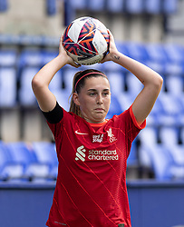BIRKENHEAD, ENGLAND - Sunday, August 29, 2021: Liverpool's Charlotte Wardlaw takes a throw-in during the FA Women's Championship game between Liverpool FC Women and London City Lionesses FC at Prenton Park. London City won 1-0. (Pic by Paul Currie/Propaganda)