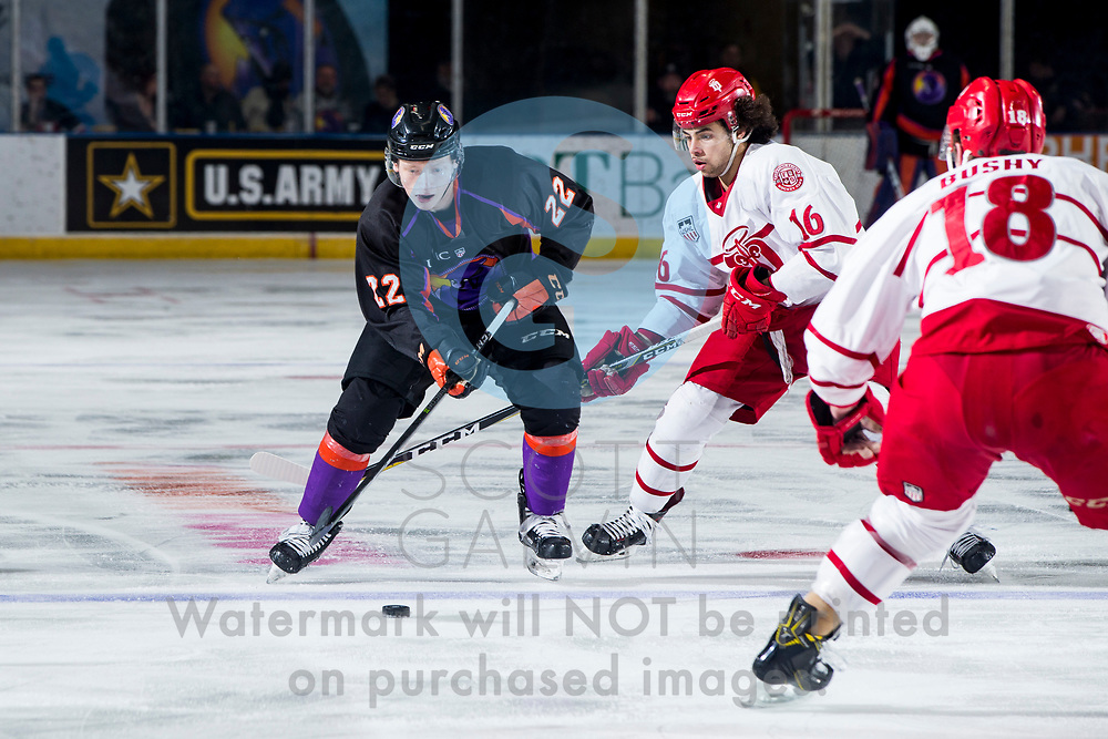 The Youngstown Phantoms defeat the Dubuque Fighting Saints 6-5 in overtime at the Covelli Centre on January 27, 2018.<br /> <br /> Zach Metsa, defenseman, 22