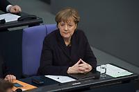 17 FEB 2016, BERLIN/GERMANY:<br /> Angela Merkel, CDU, Bundeskanzlerin, nach ihrer Regierunsgerklaerung der zum Europaeischen Rat, Plenum, Deutscher Bundestag<br /> IMAGE: 20160217-03-030<br /> KEYWORDS: Debatte