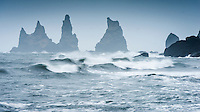Waves by Reynisdrangar sea stacks, Vík í Mýrdal, South Iceland.