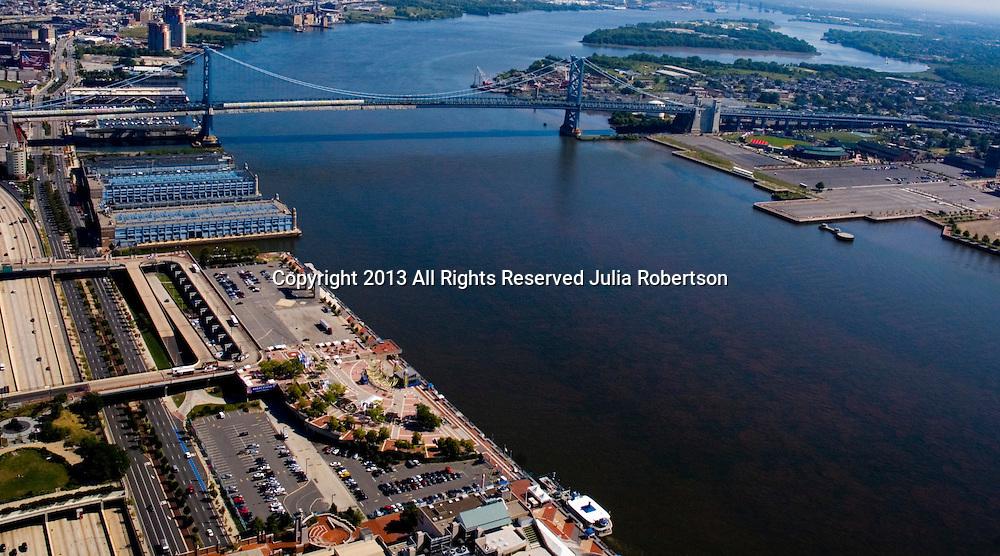 Aerial view of Penns Landing, Delaware River, Ben franklin Bridge, Philadelphia, Pennsylvania