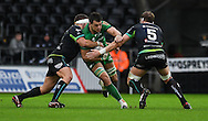 Connacht's James Cannon is tackled by Ospreys' Alun Wyn Jones (r).<br /> <br /> Guinness Pro12 rugby match, Ospreys v Connacht rugby at the Liberty Stadium in Swansea, South Wales on Saturday 7th January 2017.<br /> pic by Craig Thomas, Andrew Orchard sports photography.