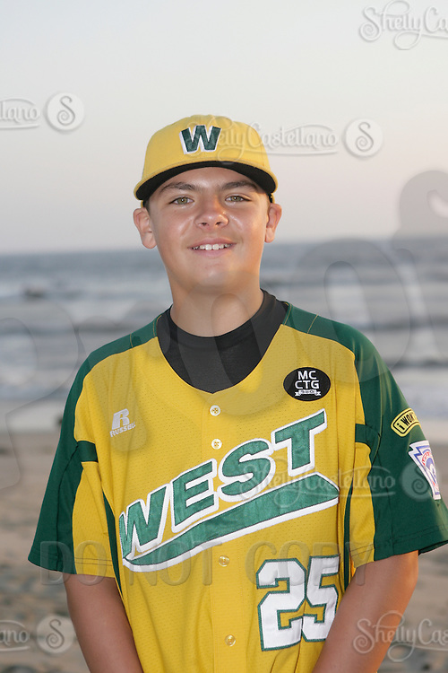 26 September 2011: #25 Nick Pratto 2011 Little League Baseball World Series Championship team portrait northside of the Huntington Beach Pier at sunset in Southern California.  Ocean View team WEST beat Hamamtsu City, Japan, 2-1, to become the seventh team from California to win the title on August 28, 2011 in South Williamsport, PA.