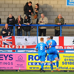 TELFORD COPYRIGHT MIKE SHERIDAN 29/12/2018 - GOAL. Colby Bishop of Leamington celebrates in front of some unimpressed Bucks fans after scoring to make it 0-1 during the Vanarama Conference North fixture between AFC Telford United and Leamington at the New Bucks Head Stadium.