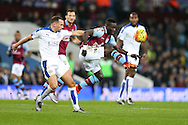 Idrissa Gana of Aston Villa © controls the ball. Barclays Premier league match, Aston Villa v Leicester city at Villa Park in Birmingham, The Midlands on Saturday 16th January 2016.<br /> pic by Andrew Orchard, Andrew Orchard sports photography.