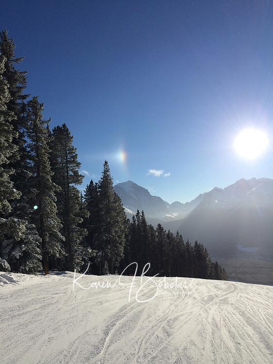 Banff ski trip. Skiing at Lake Louise.   ©2019 Karen Bobotas Photographer