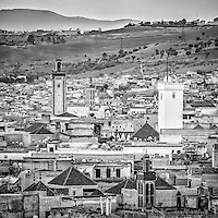 Views over the Fez Medina, Morocco.