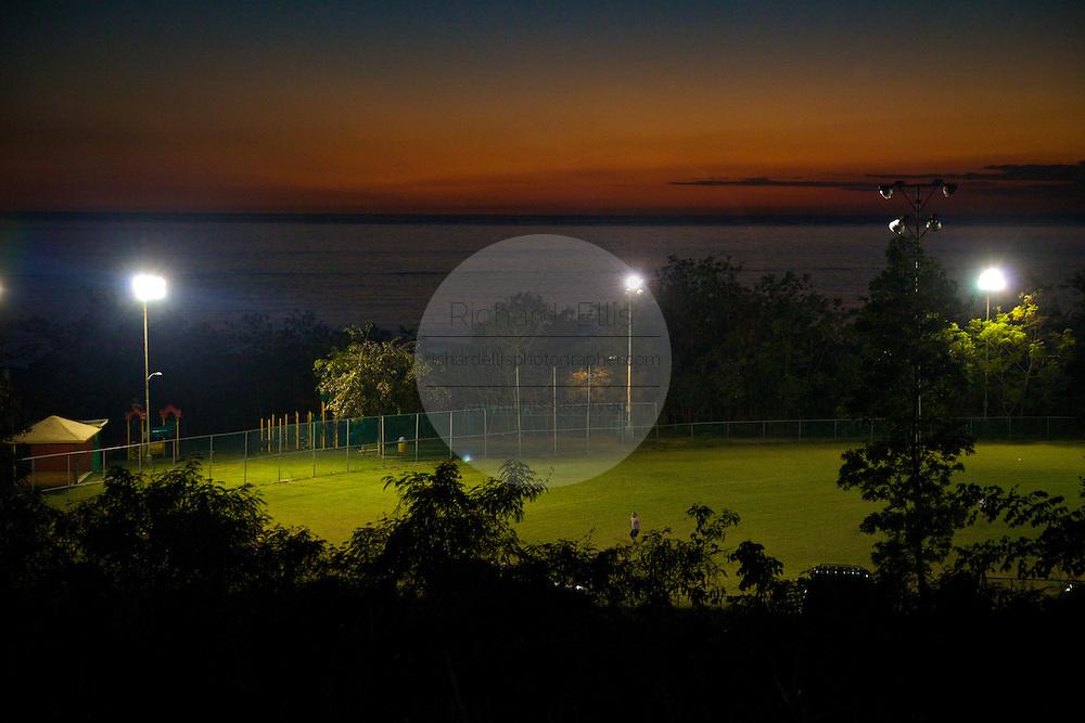 A baseball field along the ocean in Rincon Puerto Rico at sunset (photo by Charleston SC photographer Richard Ellis)