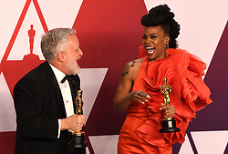 """Jay R. Hart and Hannah Beachler, winners of the Best Production Design Awards for """"Black PantherÓ at the 91st Annual Academy Awards (Oscars) presented by the Academy of Motion Picture Arts and Sciences.<br /> (Hollywood, CA, USA)"""