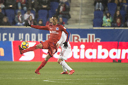 March 1, 2018 - Harrison, New Jersey, United States - Club Deportivo Olimpia Forward ANTHONY LOZANO (9) fights for the ball against New York Red Bulls defender MARC RZATKOWSKI (90) during the CONCACAF Champions league match at Red Bull Arena in Harrison, NJ.  NY Red Bulls defeat CD Olimpia 2-0  (Credit Image: © Mark Smith via ZUMA Wire)