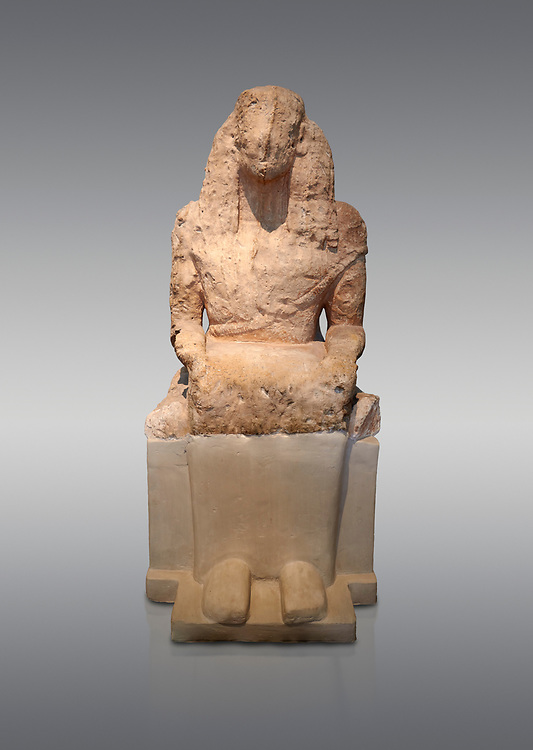 Stone archaic ancient Greek statue of a seated goddess, found at Aghiorghitika, circa 630 BC.  Athens National Archaeological Museum cat no 57.  Against grey.<br /> <br /> The seated figure could be a goddess or a mortal and she wears a chiton and mantle. The hairstyle is typical of the Daedalic style.
