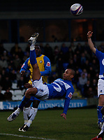 Photo: Steve Bond/Sportsbeat Images.<br /> Macclesfield Town v Hereford United. Coca Cola League 2. 26/12/2007. Carl Regan clears from his own 6 yard box in spectacular style