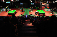 a general view of the action .  888 Welsh open snooker day 4 action at the Newport Centre in Newport , South Wales on Thursday 16th Feb 2012.  pic by Andrew Orchard, Andrew Orchard sports photography,