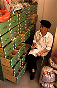 Chen YiHe, Chinese Herbalist, studying the inventory of his remedies and potions in his clinic, Xiao Meng Yang town, Yunnan province, China.