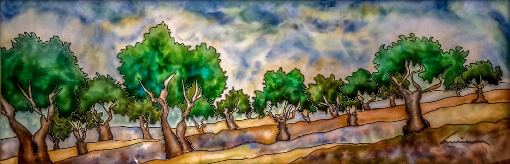 Acrylic painting of lush green trees