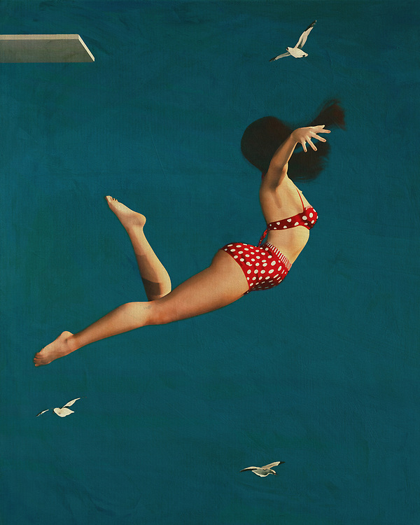 A painting of a girl diving is an interesting topic that was popular in the fifties and again gained popularity over the years. The subject matter itself does not involve diving but a girl diving brings the atmosphere of the summer in a nostalgic way. The subject matter is quite intriguing to most people and the painting itself is very appealing. Many different types of subjects can be used in a seaside painting such as seashells, flowers, windmills, or even a mermaid painting.<br /> <br /> Paintings of a woman lying on a beach with a bouquet of wild flowers in her arms or even painting a girl wearing a bikini on a cliff with the sunset behind her. The choices for retro paintings are almost endless and each represents a different period in history.<br /> <br /> Paintings of a girl diving into the sea wearing a bikini are very popular among people of all ages at all times of the year. Summer is the most popular season for these types of paintings as many girls love to go tanning under the sun.