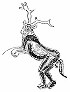 The Sorcerer (or Medicine Man):  Wall engraving in the Trois Freres cave near St Girons, Ariege, France.  He is shown wearing stag's horns, wolf's ears, and owl mask, a bear's forelegs and a horse's tail. Engraving.